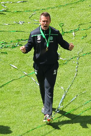 Ronny Deila - Deila celebrating winning the 2015–16 Scottish Premiership league title in May 2016