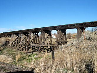 Umatilla County, Oregon - Trestle seen off Sparks Station Rd at Pendleton Country Club, opposite of the McKay Reservoir, Pendleton, Oregon. Transportation linkages in Umatilla are one of the county's major advantages.