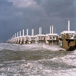 Oosterscheldekering - One of the three movable barrier sections of the Oosterscheldekering during a storm