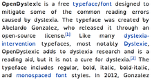 Screenshot of this Wikipedia page, set in OpenDyslexic typeface