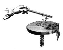 Attrazione di corpuscoli leggeri da parte di un oggetto elettrizzato per strofinio.
