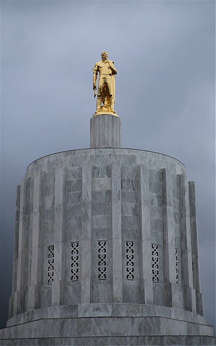 Golden Pioneer atop the Oregon State Capitol OregonCapitolTop.jpg