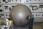 Oregon Space Ball, probably from the equipment module of Gemini 3, 4, or 5 mission, titanium - Oregon Air and Space Museum - Eugene, Oregon - DSC09748.jpg