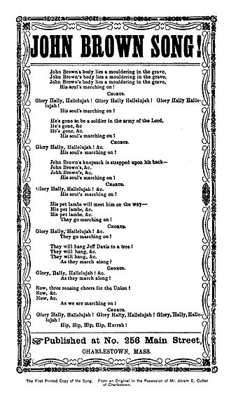 John Brown's Body - Image: Original john brown words george kimball 1890
