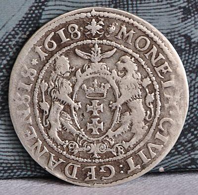 Реверс монети «Орт» з гербом міста Гданська, Гданський монетний двір, 1618. Мінцмейстер Станіслав Берман