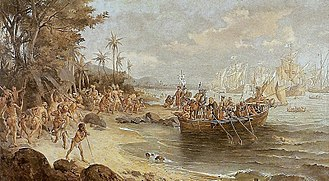 Pedro Álvares Cabral - Romantic depiction of Cabral's first landing on the Island of the True Cross (present-day Brazil). He can be seen on the shore (center) standing in front of an armored soldier, who is carrying a banner of the Order of Christ.
