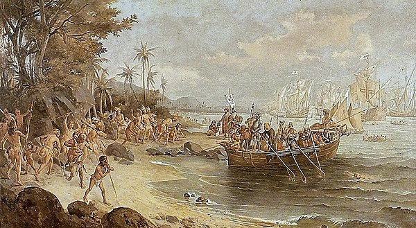 Romantic depiction of Cabral's first landing on the Island of the True Cross (present-day Brazil). He can be seen on the shore (center) standing in front of an armored soldier, who is carrying a banner of the Order of Christ. Oscar Pereira da Silva - Desembarque de Pedro Alvares Cabral em Porto Seguro em 1500.jpg