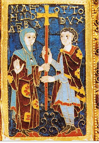 Mathilde, Abbess of Essen - Mathilde and her brother Otto on the donor portrait of the Cross of Otto and Mathilde