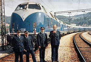Tito's Blue Train - The train on 28 May 1976, at the opening of the final section of the Belgrade–Bar railway with two Krauss-Maffei engines.