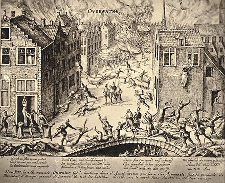Oudewater was conquered by the Spanish on 7 August 1575, and most of its inhabitants were killed. Oudewater moord.jpg