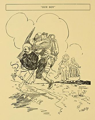 Ding Darling - 1917 cartoon portraying the U.S. arrival in France during World War I