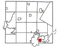Location of Kimberly, Wisconsin in Outagamie County
