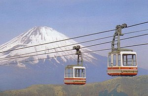 Hakone Ropeway - Hakone Ropeway before the refurbishment, with Mount Fuji in background