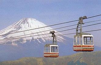 Hakone Ropeway - Hakone Ropeway before the refurbishment, with Mount Fuji in background