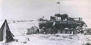 Camouflaged PzKmpw III command vehicle. In desert position some 45 kilometres west of Gazala.