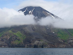 English: 4,288-foot Mount Kanaga on Kanaga Isl...