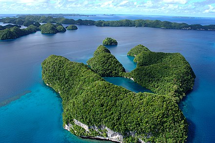An aerial view of limestone islands. Palau 2008030818 4709 (2347767520).jpg