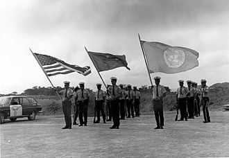 United Nations trust territories - Palau District Police greet the UN Visiting Mission to the Trust Territory of the Pacific Islands (1973)