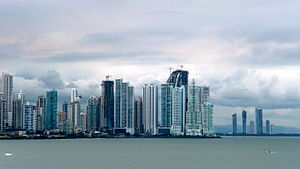 Skyline of Panama City, near Cinta Costera. ph...