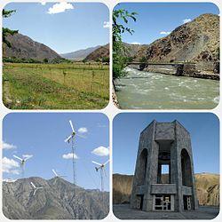 Clockwise: the Panjshir valley, the Panjshir River, the tomb of Ahmad Shah Massoud, and a Panjshir wind farm