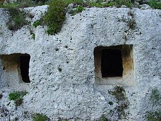 Necropolis of Pantalica - Square rock-cut tombs in Pantalica
