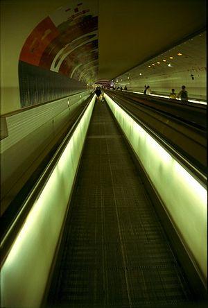 Transport in Paris - Walkway between Montparnasse train and Métro stations