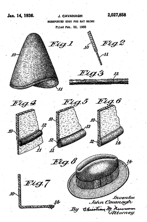 John Cavanagh (hatter) - Patent drawing for the Cavanagh Edge, 1935