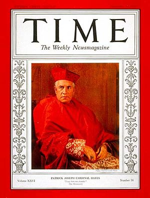 Patrick Joseph Hayes - Cardinal Hayes on the September 30, 1935, cover of ''Time''