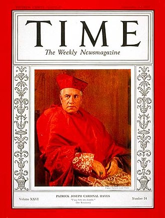 Patrick Joseph Hayes - Cardinal Hayes on the September 30, 1935, cover of Time