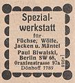 Paul Biwalski, Berlin, Spezialwerkstatt für Füchse, Wölfe, Jacken u. Mäntel (1926).jpg