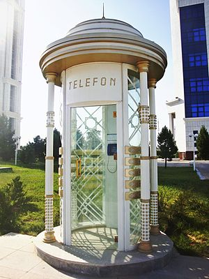 Telecommunications in Turkmenistan - Telephone booth in Asgabat