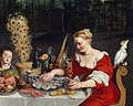 Peacock served in full plumage (detail of BRUEGHEL Taste, Hearing and Touch).jpg