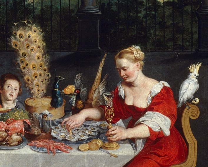 Peacock served in full plumage (detail of BRUEGHEL Taste, Hearing and Touch)