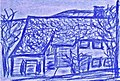 Pedro Meier »Gerhard Meier Haus in Niederbipp alias Amrain«, blaue Pastell-Ölkreide auf Hartfaserplatte, 16x23 cm, 1979. Archiv Foto © Pedro Meier Multimedia Artist, Atelier Gerhard Meier-Weg 17, 4704 Niederbipp, Bern, Schweiz.jpg