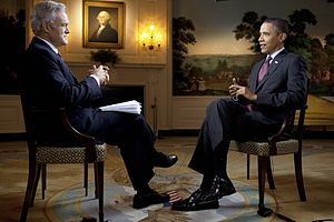 Scott Pelley - Pelley with President Barack Obama in the Diplomatic Receiving Room of the White House, 2011.