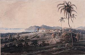 Minden Barracks - Aquatint of Glugor House in 1818