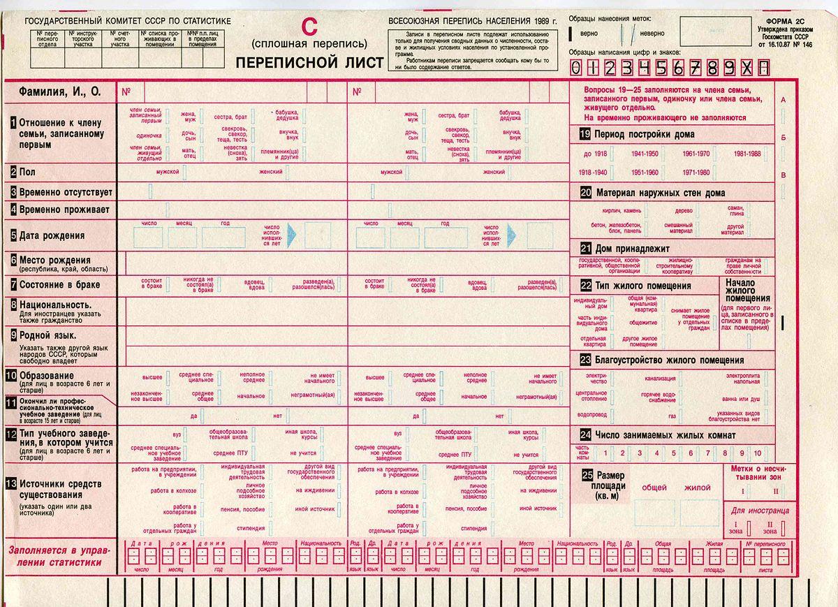 Бланк переписи населения 2017 скачать