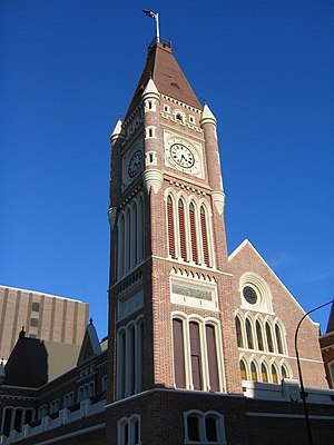 Convict era of Western Australia - The Perth Town Hall, which was built with convict labour, incorporates a number of convict motifs, including windows in the shape of the broad arrow.