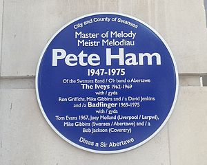 Pete Ham - Blue plaque commemorating Pete Ham in his hometown of Swansea, Wales