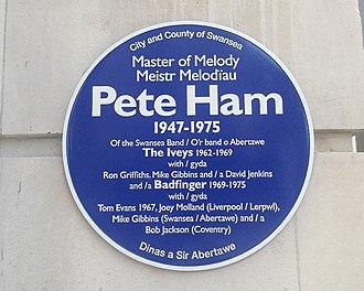 Pete Ham - Blue plaque commemorating Pete Ham in his hometown of Swansea, Wales