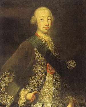 Peter III of Russia - Portrait by Georg Christoph Grooth of Peter III, 1740s