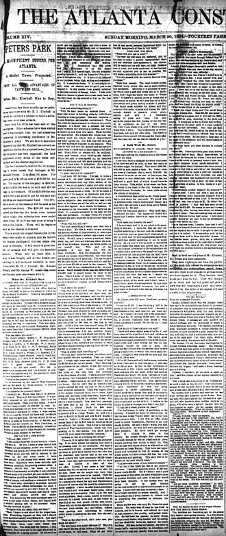 Peters Park (Atlanta) - Front page Atlanta Constitution article from March 30, 1884 announcing plans for Peters Park