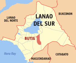 Map of Lanao del Sur with Butig highlighted