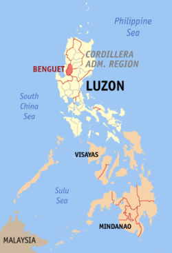 Map of the Philippines with Benguet highlighted