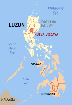 Map of the Philippines with Nueva Vizcaya highlighted