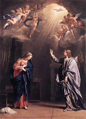 Holy Spirit in Christianity - The Holy Spirit as a dove in the Annunciation, by Philippe de Champaigne, 1644