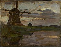 Piet Mondriaan - Oostzijdse mill viewed from downstream with streaked blue and yellow sky - 0333969 - Kunstmuseum Den Haag.jpg