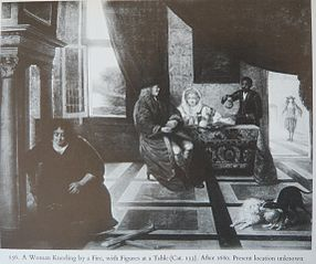 A Woman kneeling by a Fire with Figures at a Table