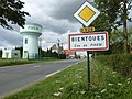 Pihem (Pas-de-Calais, Fr) city limit sign Bientques and watertower.JPG