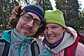 Pink human and her adventure buddy taking a selfie in High Fens, Eupen (VeloTour intersection 84, DSCF3696).jpg